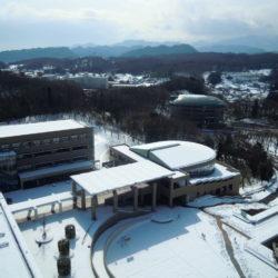 社会学部棟から見下ろした多摩キャンパスの写真です。