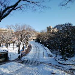 雪の坂道は滑りやすいので気をつけましょう!